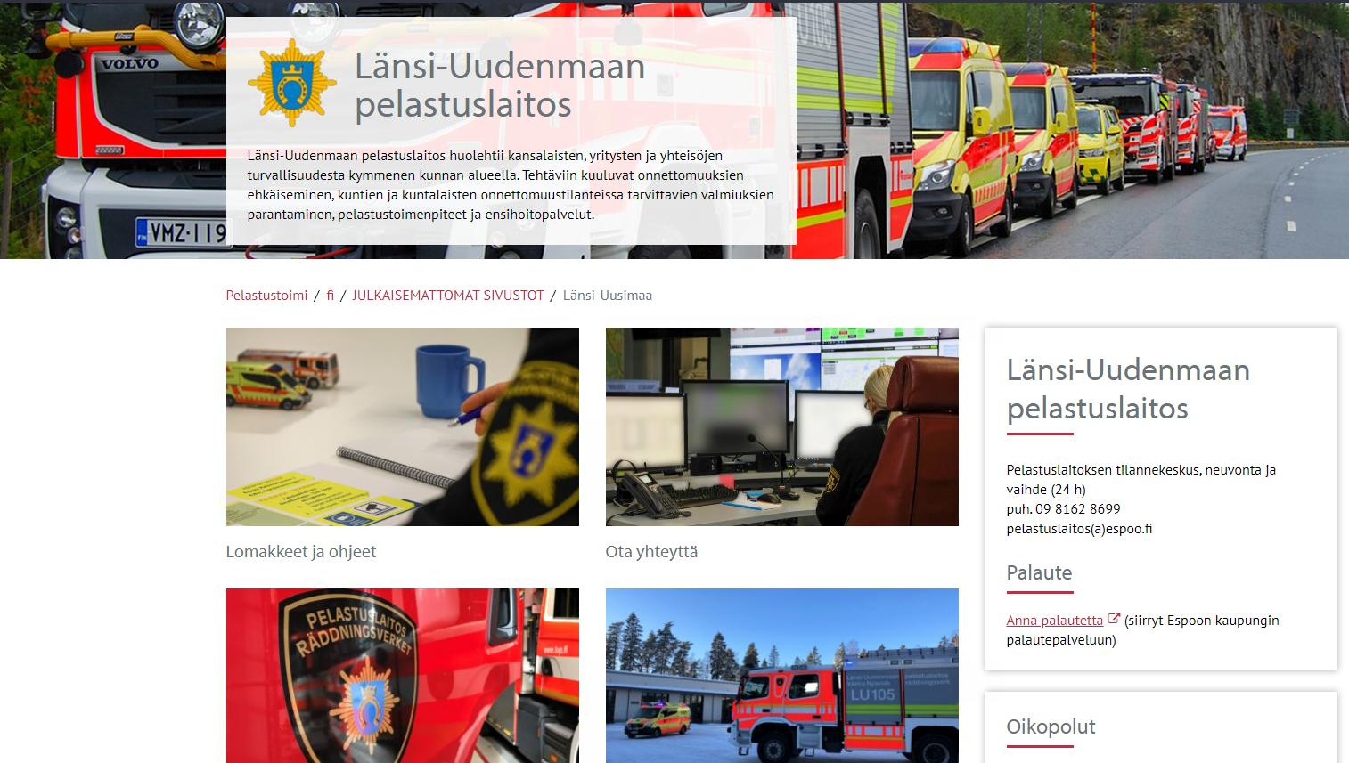 Osio Länsi-Uudenmaan pelastuslaitoksen verkkosivuston etusivusta.
